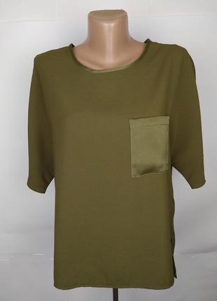 Блуза красивая цвета хаки с кармашиком new look uk 10/38/s