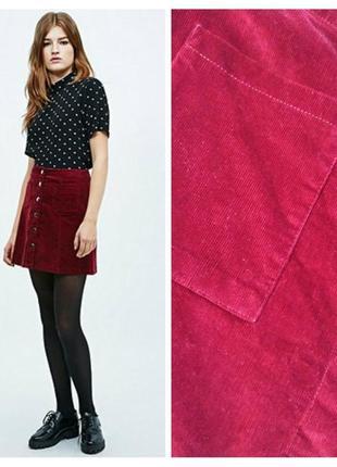 Вельветовая мини юбка с карманами для пышных модниц,uk-20