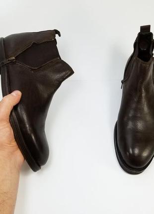 Мужские кожаные ботинки на осень зиму коричневого цвета
