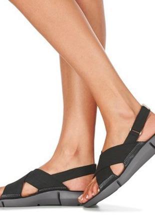 Сандалии женские кожаные нубук черные clarks tri chloe - black nubuck
