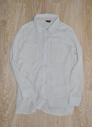 Бежевая шелковая блузка блуза рубашка autograph