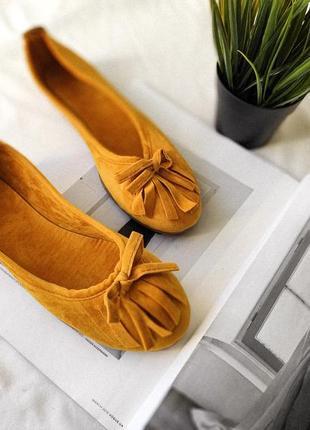 Новые классные желтые горчичные балетки туфли тапочки