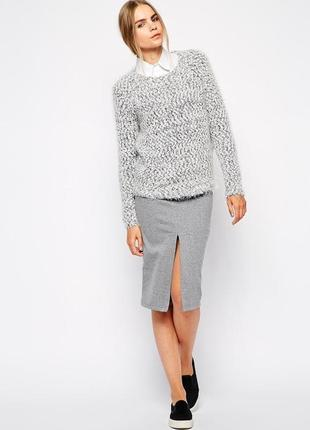 Меланжевая вязаная юбка asos c карманами m-l