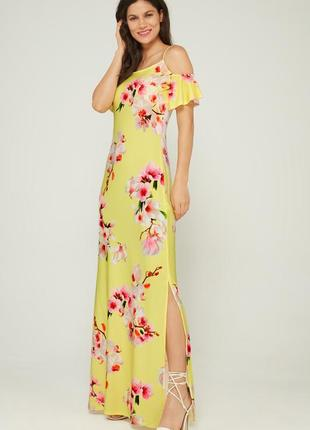 Платье макси желтое с цветами