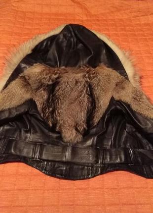 Кожаная куртка шубка с мехом лисы и волка2 фото