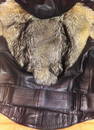 Кожаная куртка шубка с мехом лисы и волка3 фото