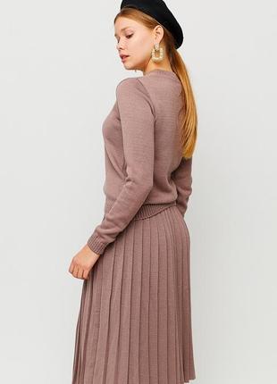 Уютный вязаный костюм (свитер + юбка плиссе миди) топ продаж!
