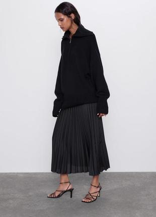 Черная юбка миди плиссе в плиссировку плиссированная спідниця міді плісе чорна гофре