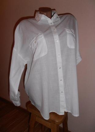 Хлопковая рубашка свободного покроя  f&f
