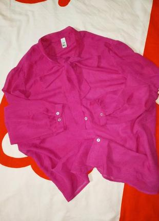 Яркая блуза с бантом фуксия
