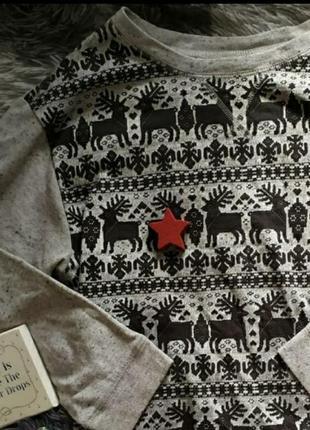 Светр свитер свитшот худи серое базовое кофта олени