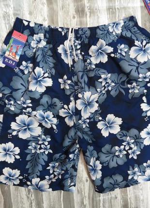 Шорты мужские пляжные  синие в цветах размер хххl