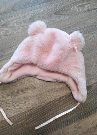 Шапка зимняя,розовый тедди