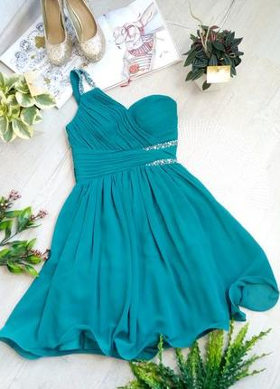 Коктейльное праздничное вечернее короткое платье изумрудно-синего цвета с вышивкой бисером