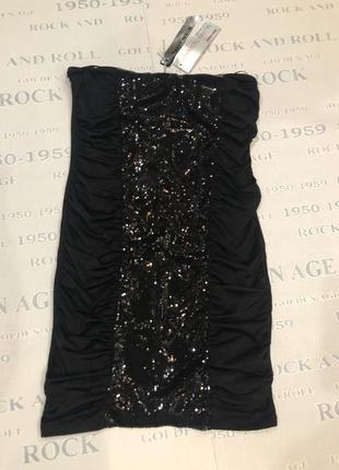 Єффектное  мини платье черное в паетки