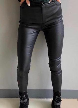 Новые кожаные лосины штаны, скини на флисе