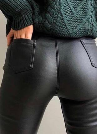 Новые кожаные лосины штаны, скини на флисе2 фото