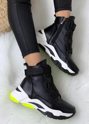 Рр 36-40 осень(зима)стильные черные ботинки с трендовыми ремнями