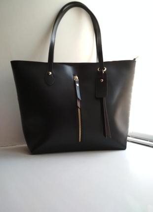 Базовая большая черная сумка шоппер под кожу zara