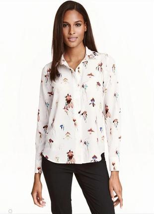 Блуза h&m в цветы белая