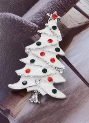 Брошь новогодняя елочка белая/ эмаль, кристаллы