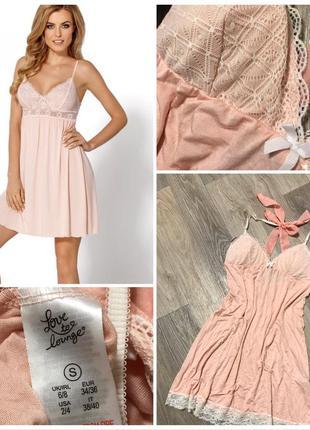Нежная персиковая ночная рубашка.ночнушка с кружевом.кружевная.