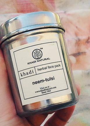 Натуральная маска для лица khadi ним и туласи neem-tulsi face 50 гр
