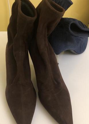 Ботинки шоколадного цвета, замш от sergio rossi, оригинал, р.41.