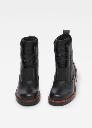 Очень крутые кожаные ботинки g-star raw оригинал. черные берцы, ботинки на шнурках
