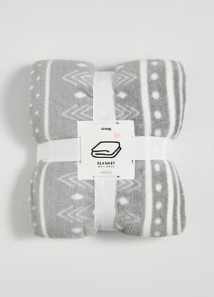Новый мягкий серый плед одеяло покрывало польша белый узор полоски горох новый год подарок