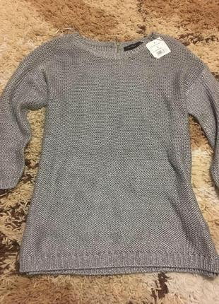 Красивый стальной вязаный свитерок reserved