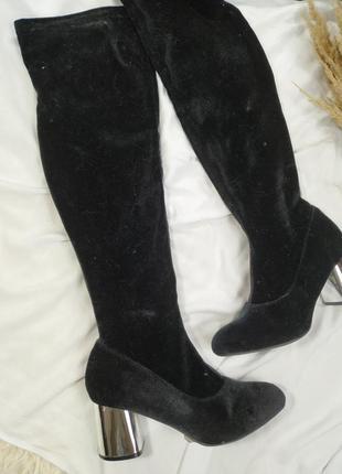 Сапоги-чулки выше колен замшевые, каблук трапеция серебряный