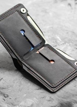Мужской черный кошелек портмоне из натуральной кожи