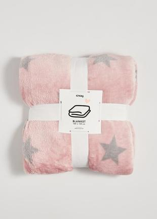 Новый розовый плед пудра одеяло покрывало польша серый узор звезды новый год подарок