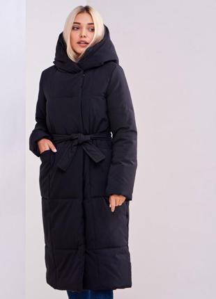 Чёрное женское зимнее пальто куртка stimma