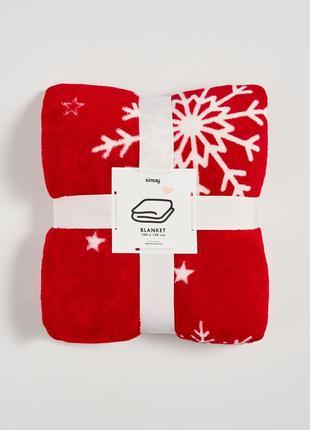 Новый мягкий красный плед одеяло покрывало снежинка снег звезды новый год подарок польша