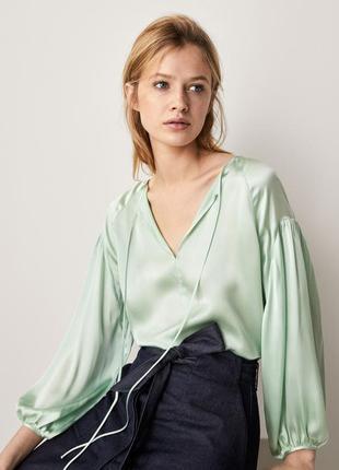 Блуза от massimo dutti из натурального шелка мятного цвета