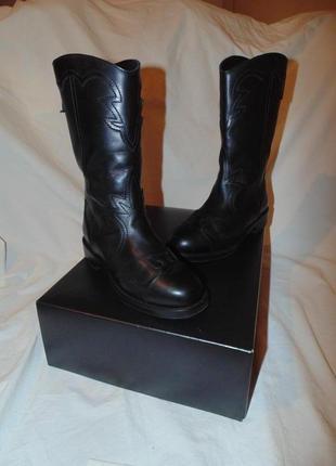 Сапоги ботинки chanel g30057 dallas black leather wing western cowboy boots