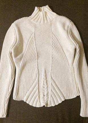 Женский хлопковый вязаный белый плотный свитер с высокой горловиной