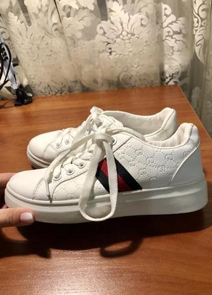 Белые кеды кроссовки гуччи gucci качественная копия