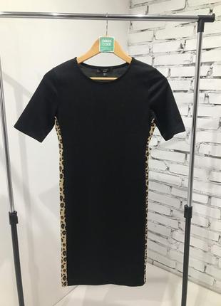 Офигенное чёрное платье в леопардовую полоску