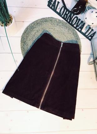 Марсаловая бордовая вельветовая юбка на замке