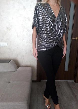 Сногсшибательное 💣черно-серебряная блуза топ с блестками - глитер😍декольте