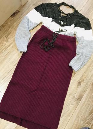 Юбка, теплая юбка в рубчик, бордовая юбка в рубчик