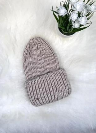 Тепла шапка, оверсайз, объемная шапка, вязаная шапка