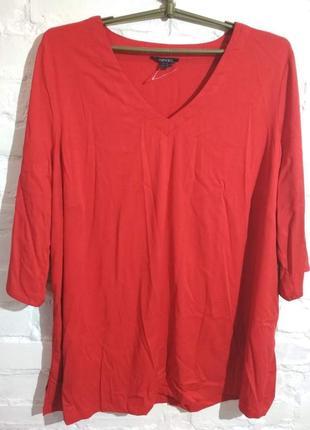 Батал! яркая красная вискозная блузка esmara, евроразмер 54, наш 60-62