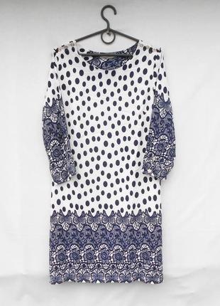 Летнее платье из вискозы в горохи с орнаментом с рукавом 3/4 anany 🌿
