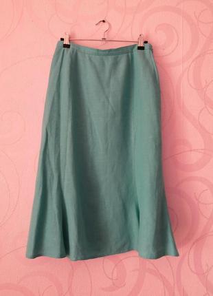Бирюзовая юбка-миди из льна