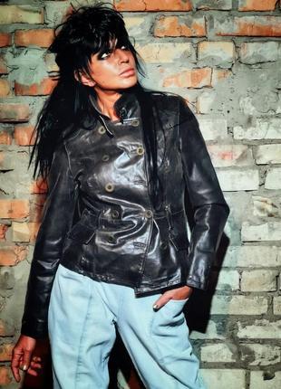 Натуральная кожаная куртка bay кожа в милитари стиле