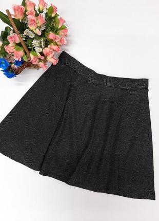 Черная люрексовая юбка clockhouse размер м